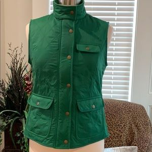 Talbots sz S Green quilted vest very soft lining.
